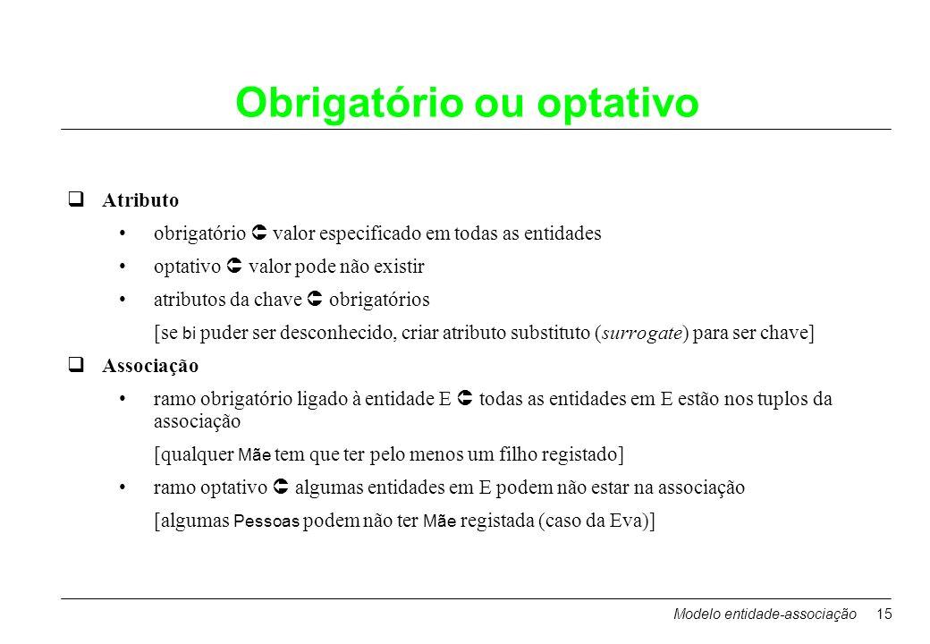 Modelo entidade-associação15 Obrigatório ou optativo qAtributo obrigatório valor especificado em todas as entidades optativo valor pode não existir at