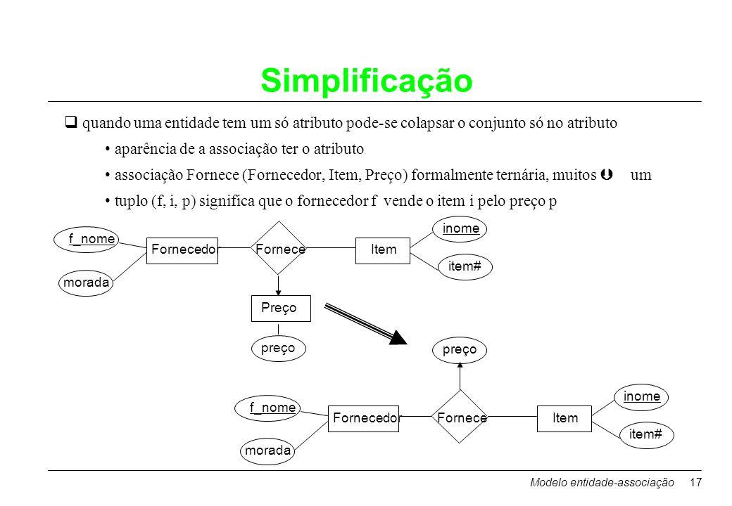 Modelo entidade-associação17 Simplificação quando uma entidade tem um só atributo pode-se colapsar o conjunto só no atributo aparência de a associação