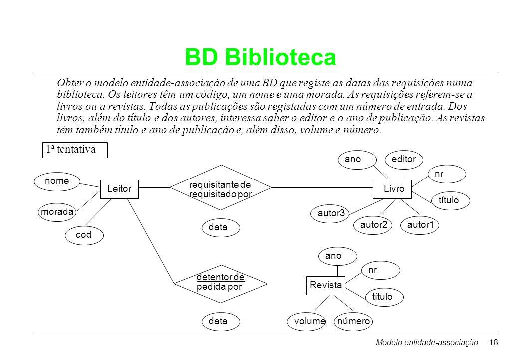 Modelo entidade-associação18 BD Biblioteca Obter o modelo entidade-associação de uma BD que registe as datas das requisições numa biblioteca. Os leito
