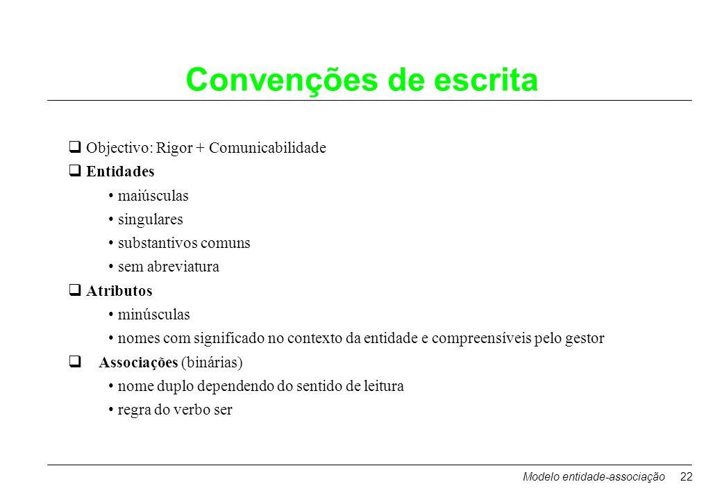 Modelo entidade-associação22 Convenções de escrita Objectivo: Rigor + Comunicabilidade Entidades maiúsculas singulares substantivos comuns sem abrevia
