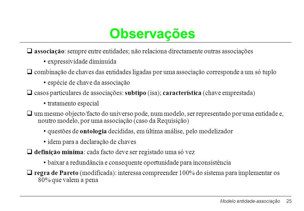 Modelo entidade-associação25 Observações associação: sempre entre entidades; não relaciona directamente outras associações expressividade diminuída co