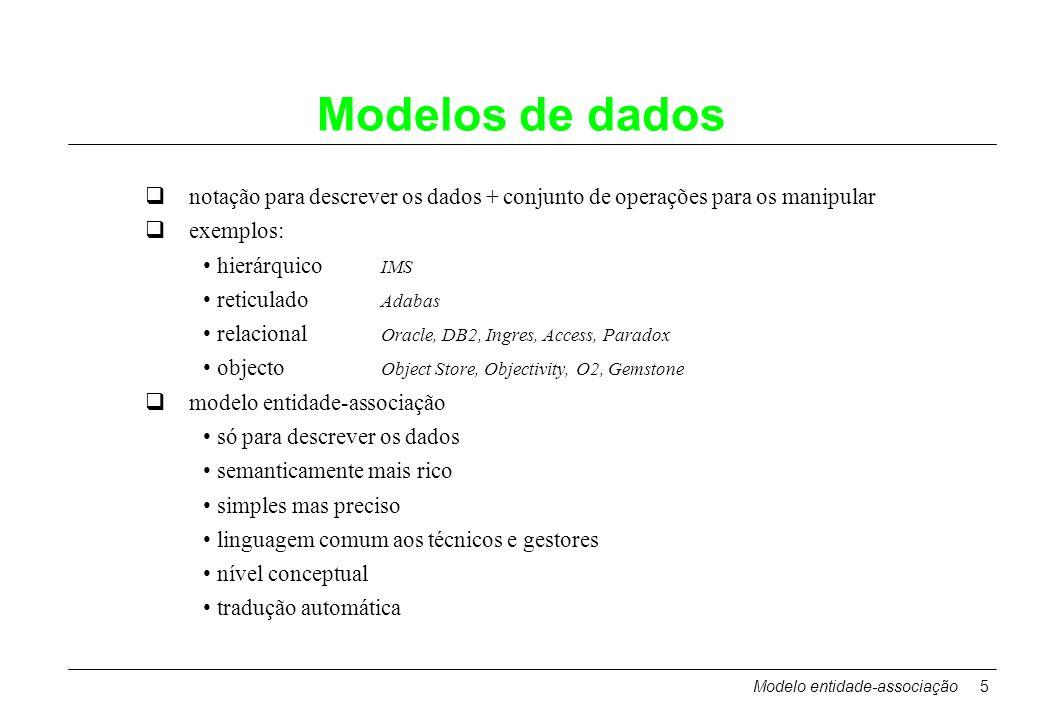 Modelo entidade-associação5 Modelos de dados notação para descrever os dados + conjunto de operações para os manipular exemplos: hierárquico IMS retic