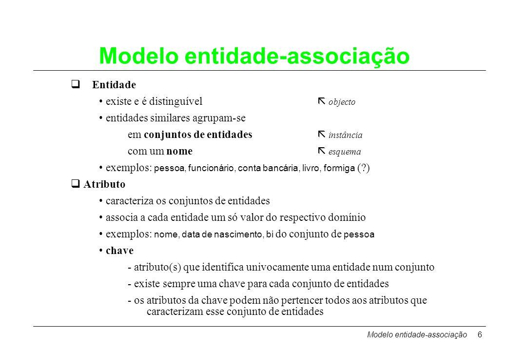 Modelo entidade-associação6 Entidade existe e é distinguível objecto entidades similares agrupam-se em conjuntos de entidades instância com um nome es