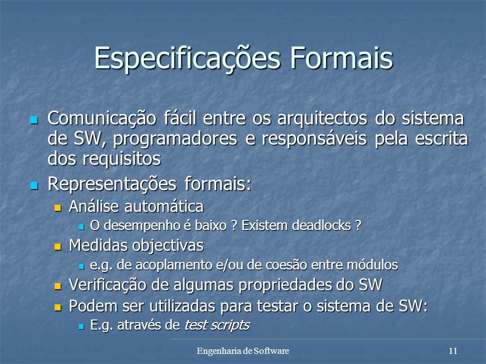 Engenharia de Software10 Especificações Informais Escritas em linguagem natural Escritas em linguagem natural Fáceis de serem entendidas pelo cliente