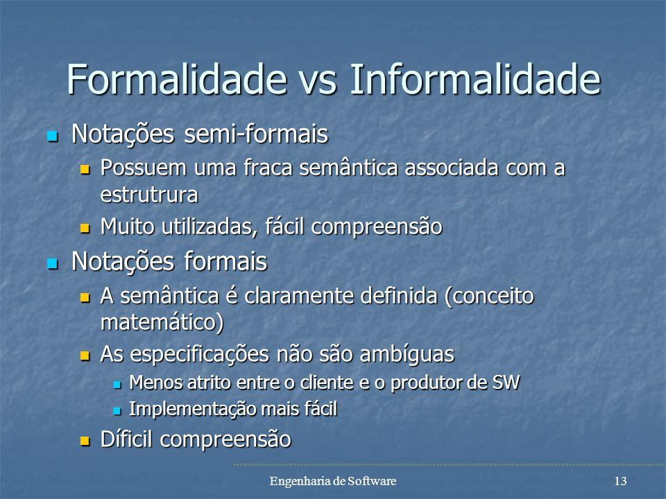 Engenharia de Software12 Formalidade vs Informalidade Método informal Método informal Linguagem natural Linguagem natural Métodos semi-formais Métodos