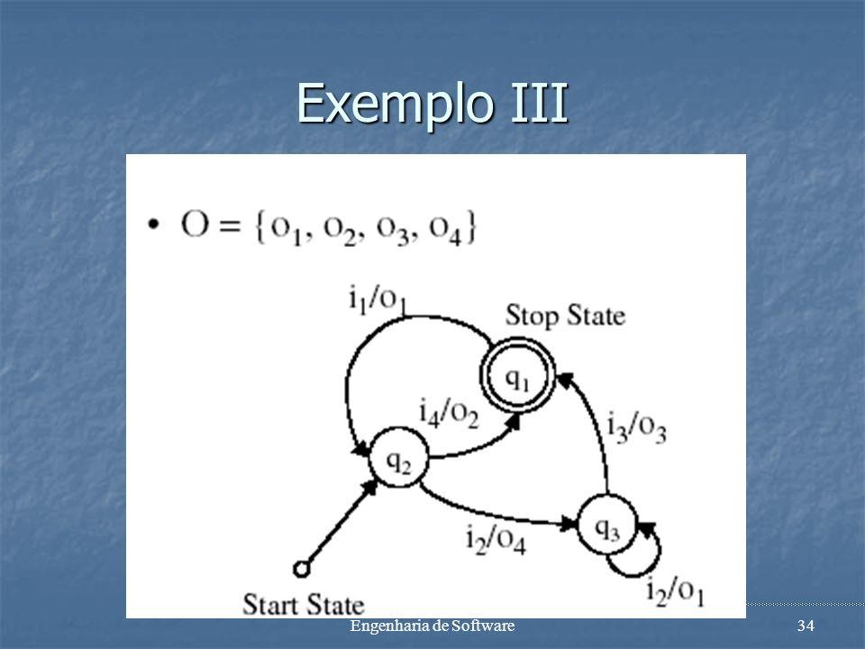 Engenharia de Software33 Máquinas de Estado Finitas Modelo de execução Modelo de execução A MEF está sempre em algum estado A MEF está sempre em algum