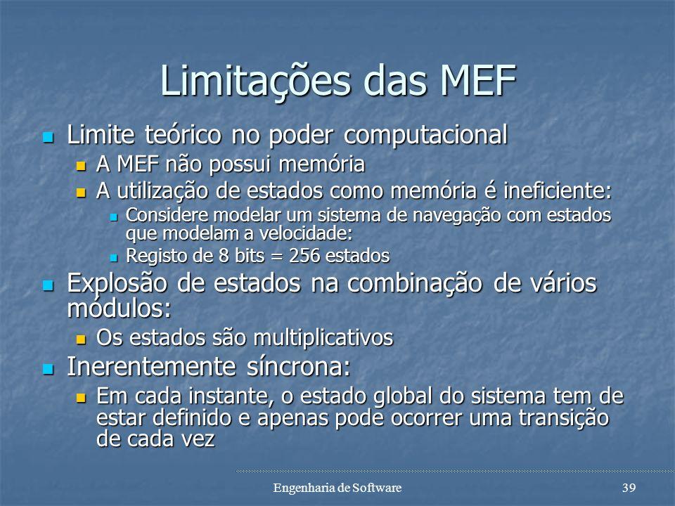 Engenharia de Software38 Vantagens do modelo MEF Simples de entender e mais precisa que outras abordagens semi-formais: Simples de entender e mais pre