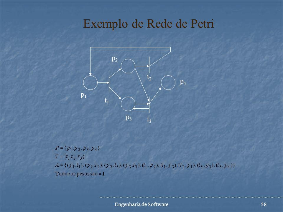 Engenharia de Software57 Definição de Rede de Petri Def.: Uma Rede de Petri (grafo ou estrutura) é um grafo pesado bipartido (P,T,A,w), onde: P={p 1,