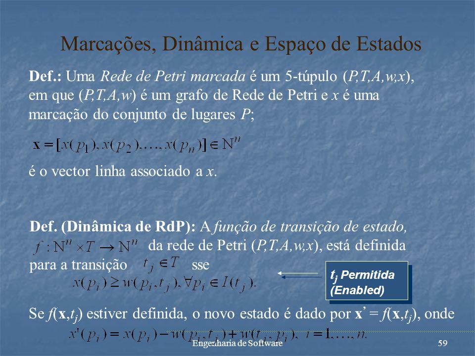 Engenharia de Software58 Exemplo de Rede de Petri p1p1 p2p2 p3p3 p4p4 t1t1 t2t2 t3t3