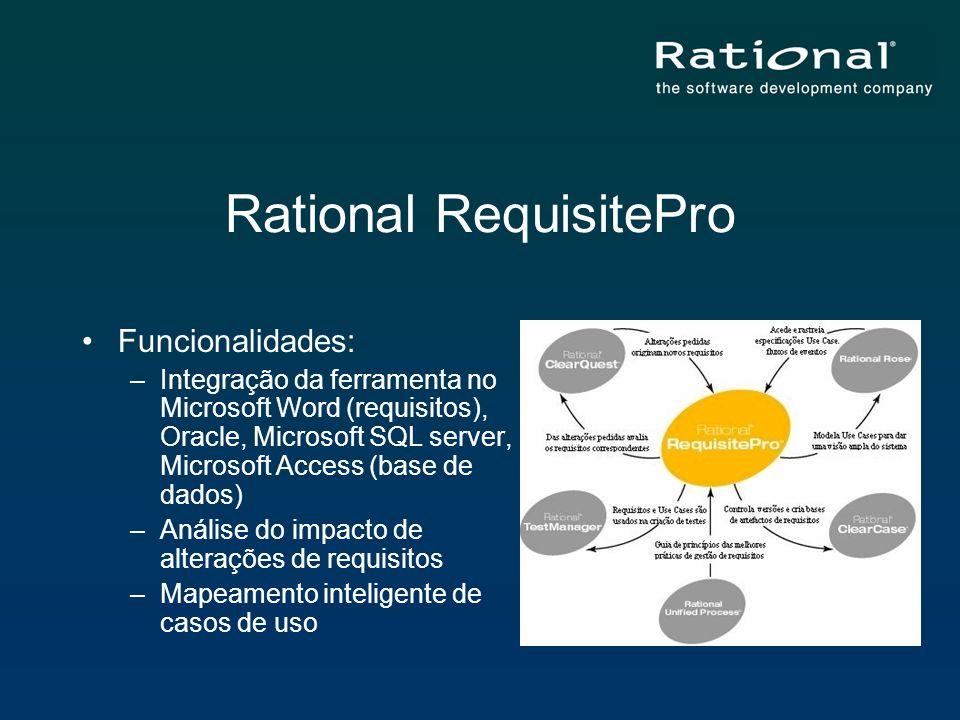 Rational RequisitePro Funcionalidades: –Integração da ferramenta no Microsoft Word (requisitos), Oracle, Microsoft SQL server, Microsoft Access (base