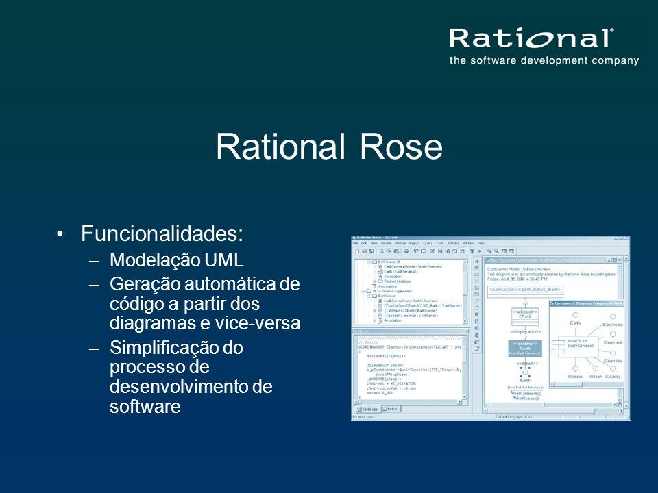 Rational Rose Funcionalidades: –Modelação UML –Geração automática de código a partir dos diagramas e vice-versa –Simplificação do processo de desenvol