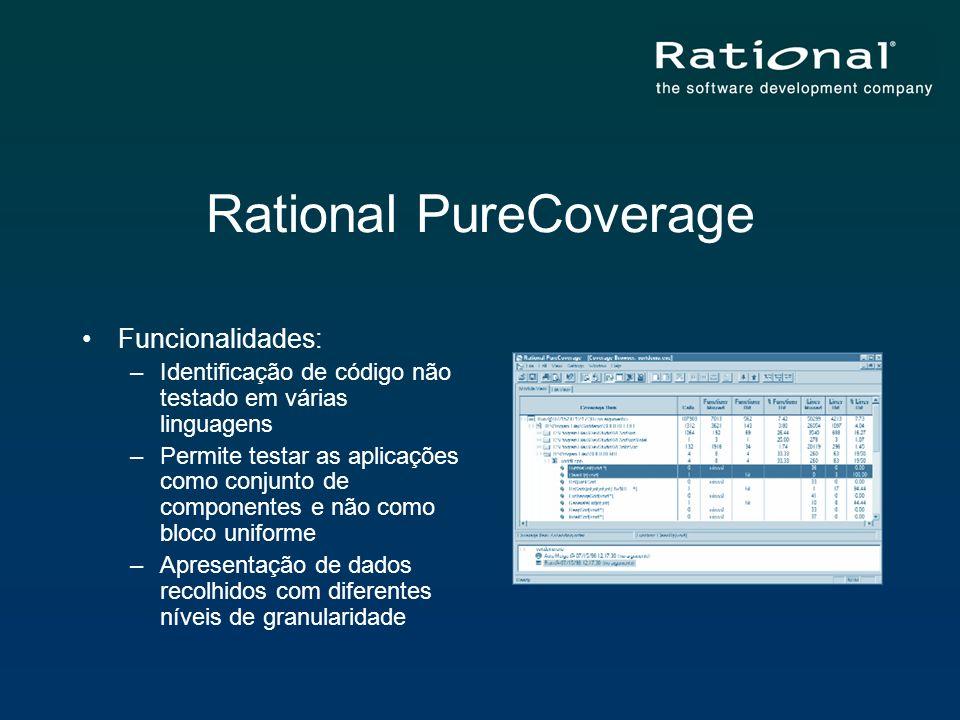 Rational PureCoverage Funcionalidades: –Identificação de código não testado em várias linguagens –Permite testar as aplicações como conjunto de compon