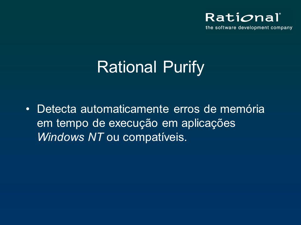 Rational Purify Detecta automaticamente erros de memória em tempo de execução em aplicações Windows NT ou compatíveis.