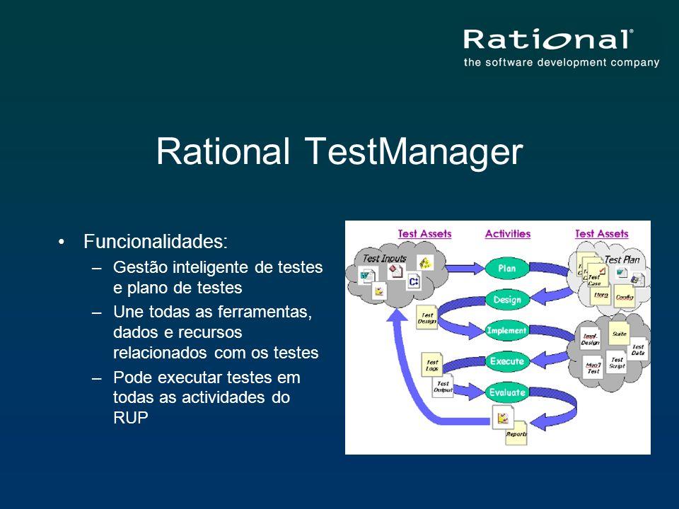 Rational TestManager Funcionalidades: –Gestão inteligente de testes e plano de testes –Une todas as ferramentas, dados e recursos relacionados com os