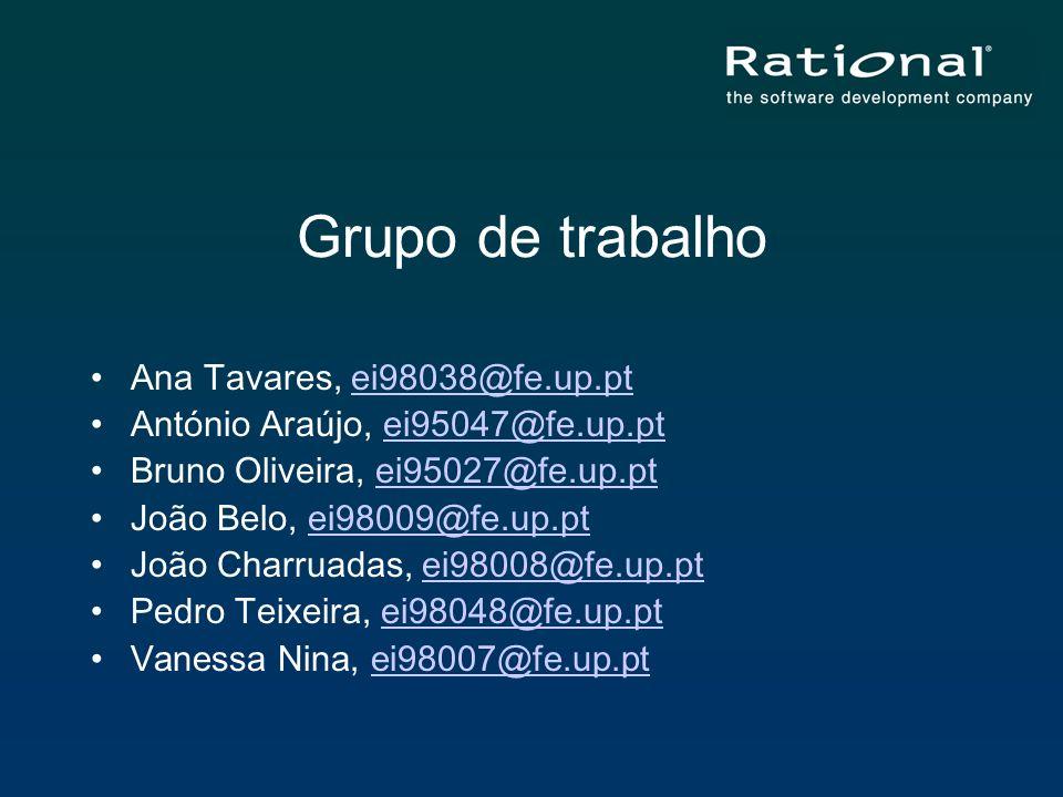 Grupo de trabalho Ana Tavares, ei98038@fe.up.ptei98038@fe.up.pt António Araújo, ei95047@fe.up.ptei95047@fe.up.pt Bruno Oliveira, ei95027@fe.up.ptei950