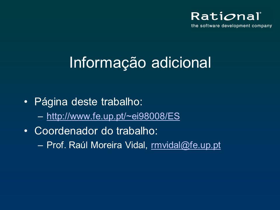 Informação adicional Página deste trabalho: –http://www.fe.up.pt/~ei98008/EShttp://www.fe.up.pt/~ei98008/ES Coordenador do trabalho: –Prof. Raúl Morei