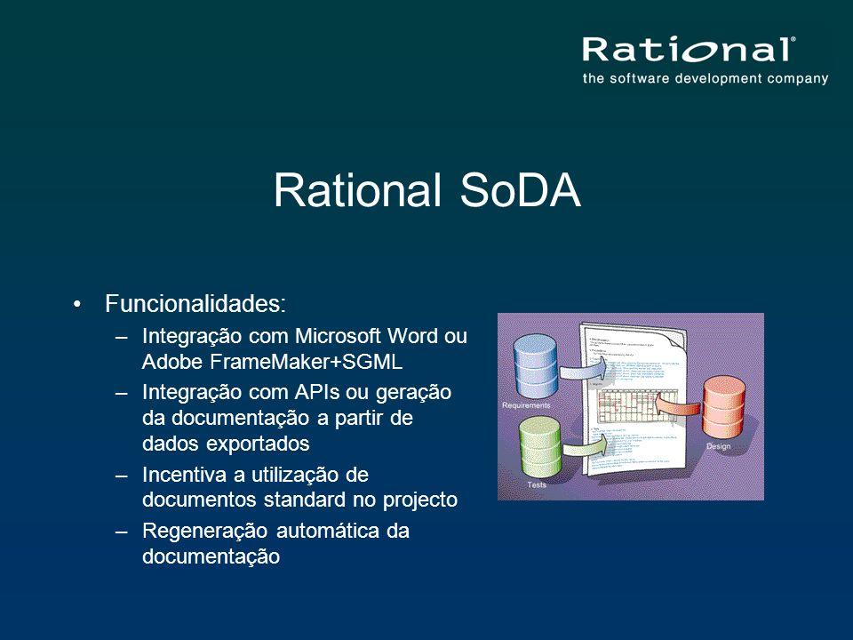 Rational SoDA Funcionalidades: –Integração com Microsoft Word ou Adobe FrameMaker+SGML –Integração com APIs ou geração da documentação a partir de dad