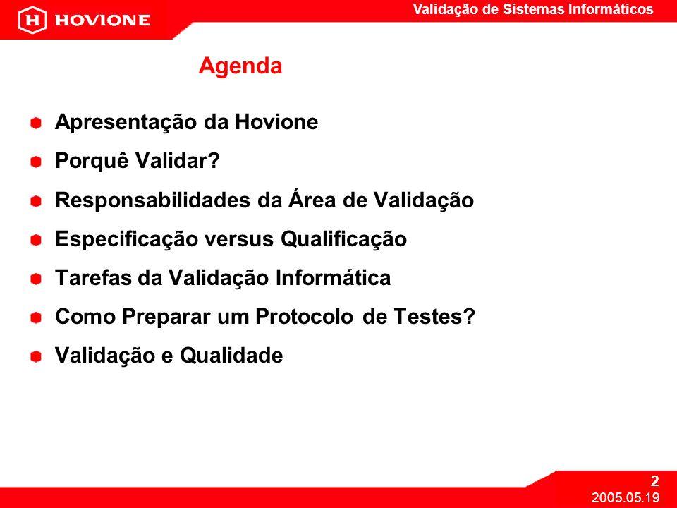 Validação de Sistemas Informáticos 2 2005.05.19 Agenda Apresentação da Hovione Porquê Validar? Responsabilidades da Área de Validação Especificação ve