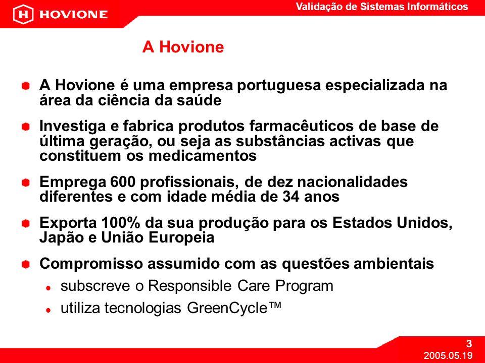 Validação de Sistemas Informáticos 3 2005.05.19 A Hovione A Hovione é uma empresa portuguesa especializada na área da ciência da saúde Investiga e fab