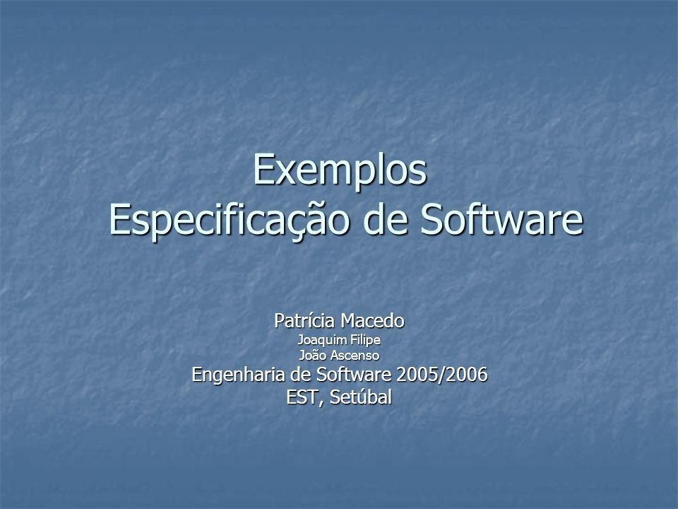 Engenharia de Software41 Exemplo: Avaliação P F P F P F P F Tutes Ass Pracs Test passed Partial pass Failed Sit exam Enrol In ES wait pass Fail exam Hooray.
