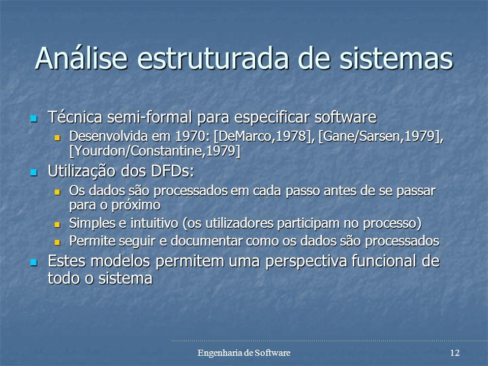 Engenharia de Software11 Case study Perceber as razões: Perceber as razões: Qual é o objectivo do sistema informático no seu negócio ? Qual é o object