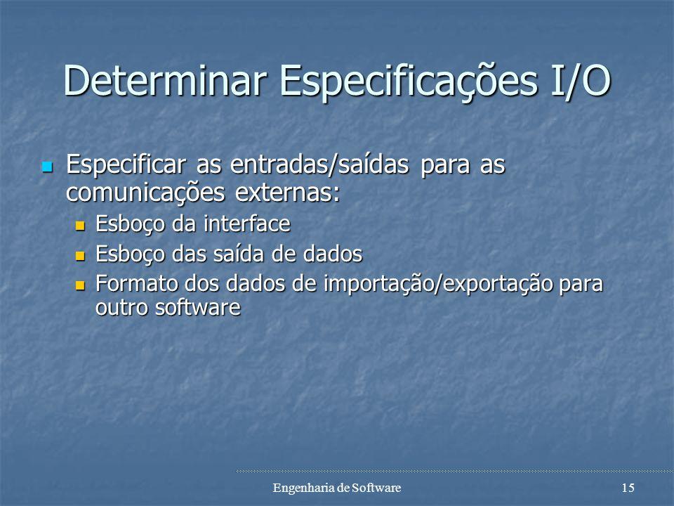 Engenharia de Software14 Definir os recursos físicos Para cada ficheiro, especificar Para cada ficheiro, especificar Nome do ficheiro Nome do ficheiro