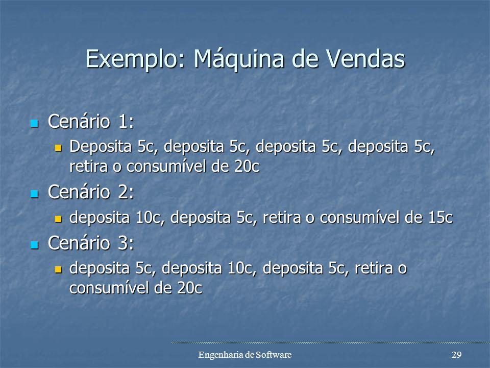 Engenharia de Software28 Exemplo: Máquina de Vendas 5c Take 15c bar Deposit 5c 0c Deposit 10c Deposit 5c 10c Deposit 10c Deposit 5c Deposit 10c 20c De