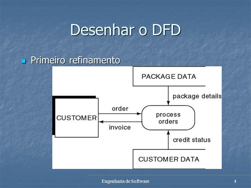 Engenharia de Software3 Exemplo com DFDS DFD mostra o fluxo de dados DFD mostra o fluxo de dados o que acontece, não como acontece o que acontece, não