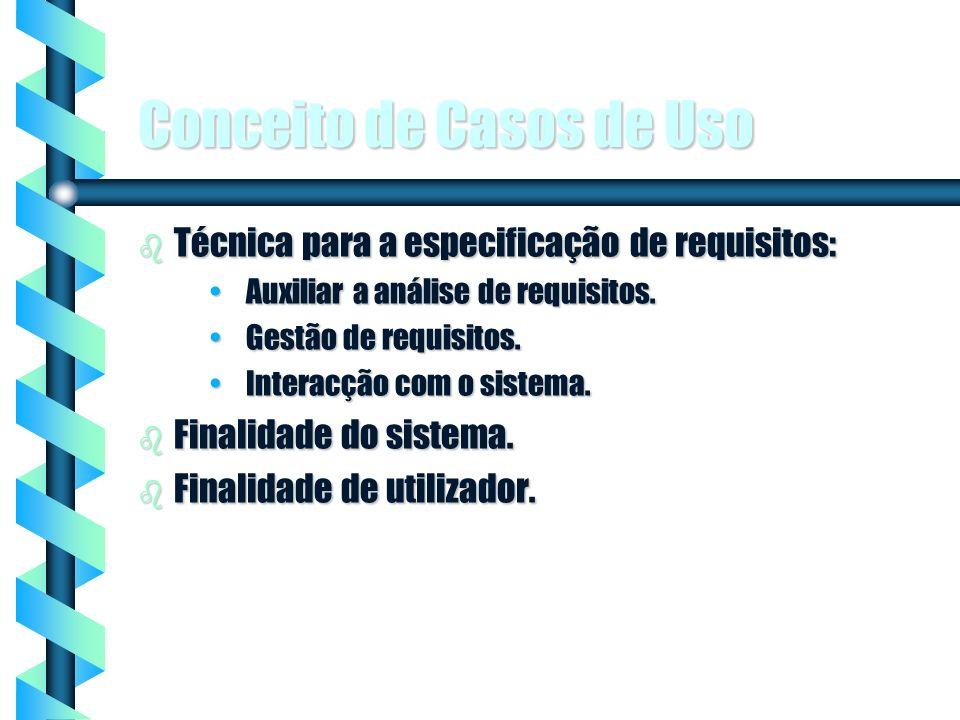 1 Conceito de Casos de Uso b Técnica para a especificação de requisitos: Auxiliar a análise de requisitos.Auxiliar a análise de requisitos. Gestão de
