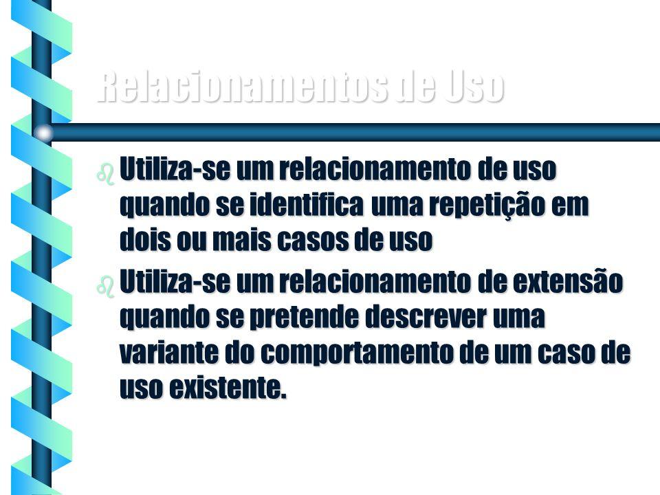 10 Relacionamentos de Uso b Utiliza-se um relacionamento de uso quando se identifica uma repetição em dois ou mais casos de uso b Utiliza-se um relaci