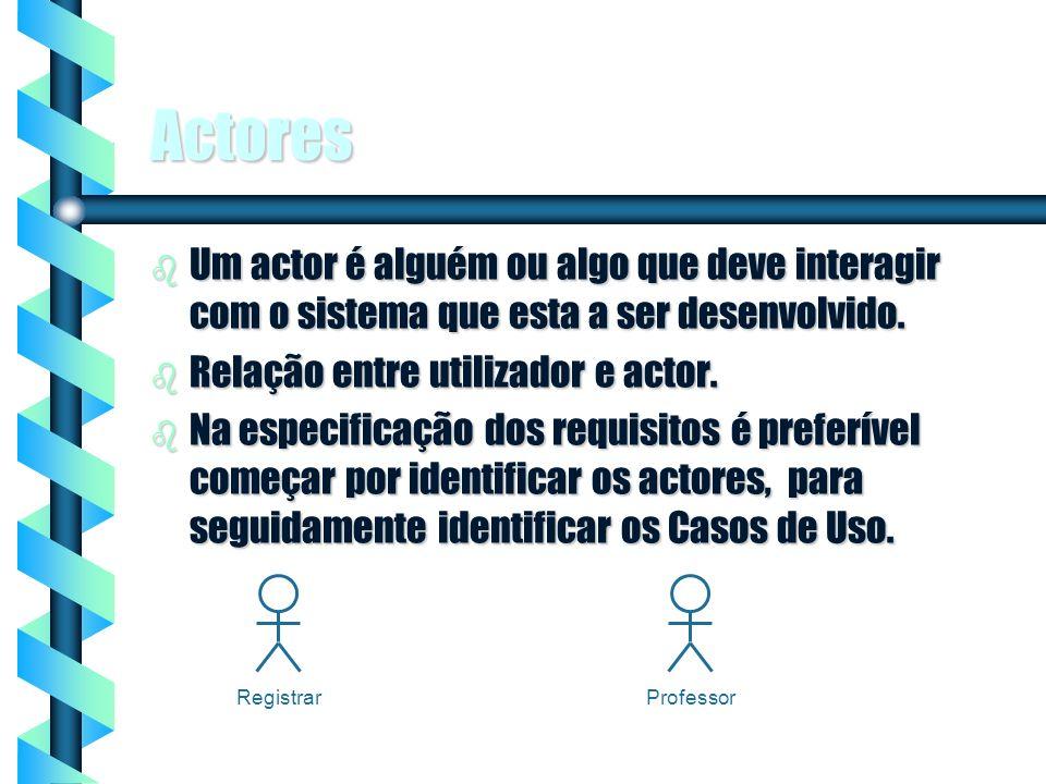 2 Actores b Um actor é alguém ou algo que deve interagir com o sistema que esta a ser desenvolvido. b Relação entre utilizador e actor. b Na especific