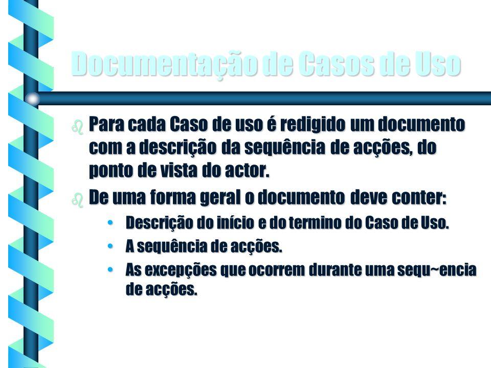 5 Documentação de Casos de Uso b Para cada Caso de uso é redigido um documento com a descrição da sequência de acções, do ponto de vista do actor. b D