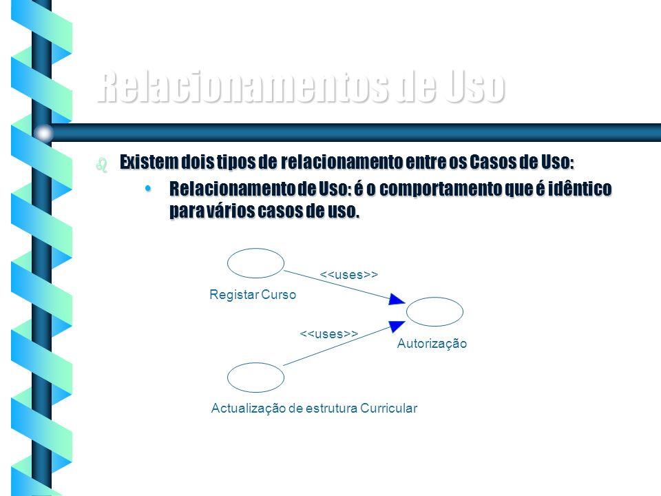 7 Relacionamentos de Uso b Existem dois tipos de relacionamento entre os Casos de Uso: Relacionamento de Uso: é o comportamento que é idêntico para vá