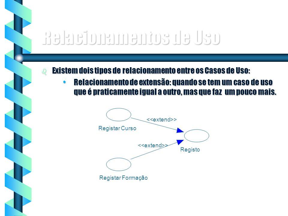 8 Relacionamentos de Uso b Existem dois tipos de relacionamento entre os Casos de Uso: Relacionamento de extensão: quando se tem um caso de uso que é