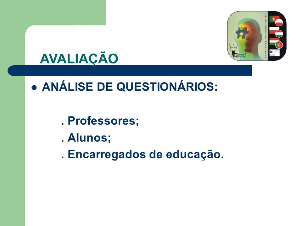 ANÁLISE DE QUESTIONÁRIOS:. Professores;. Alunos;. Encarregados de educação. AVALIAÇÃO