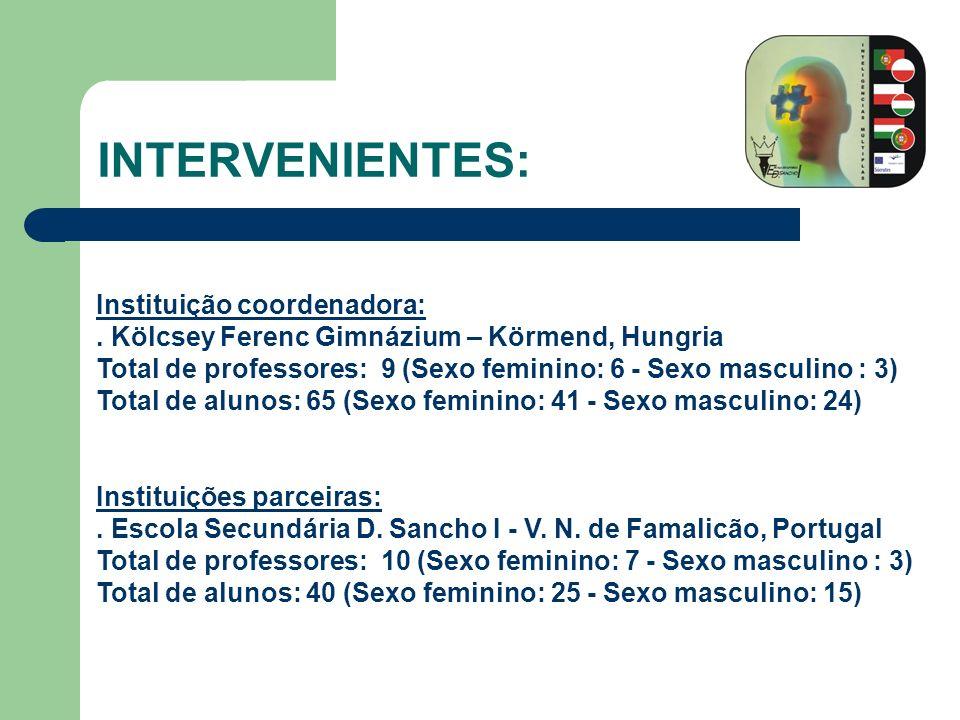 INTERVENIENTES: Lliceum Ogolnoksztalcace im Leona Kruczkowskiego – Tychy, Polónia Total de professores: 8 (Sexo feminino: 7 - Sexo masculino : 1) Total de alunos: 90 (Sexo feminino: 60 - Sexo masculino: 30) Collège Le Tertre – Remiremont, França Total de professores: 10 (Sexo feminino: 7 – Sexo masculino: 3) Total de alunos: 85 (Sexo feminino: 45 – Sexo masculino: 40)