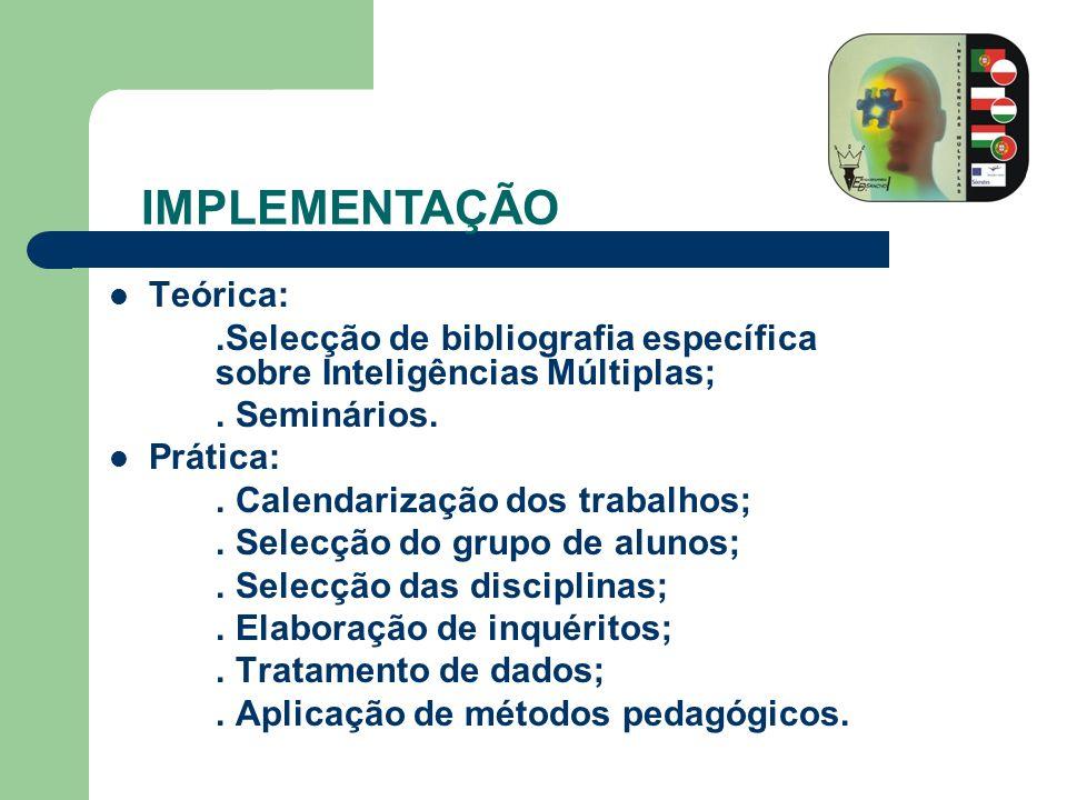 Teórica:.Selecção de bibliografia específica sobre Inteligências Múltiplas;. Seminários. Prática:. Calendarização dos trabalhos;. Selecção do grupo de