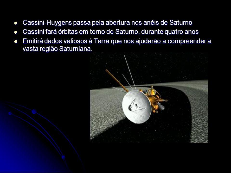 Cassini-Huygens passa pela abertura nos anéis de Saturno Cassini-Huygens passa pela abertura nos anéis de Saturno Cassini fará órbitas em torno de Sat