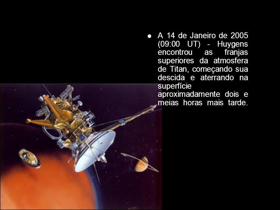 A 14 de Janeiro de 2005 (09:00 UT) - Huygens encontrou as franjas superiores da atmosfera de Titan, começando sua descida e aterrando na superfície ap