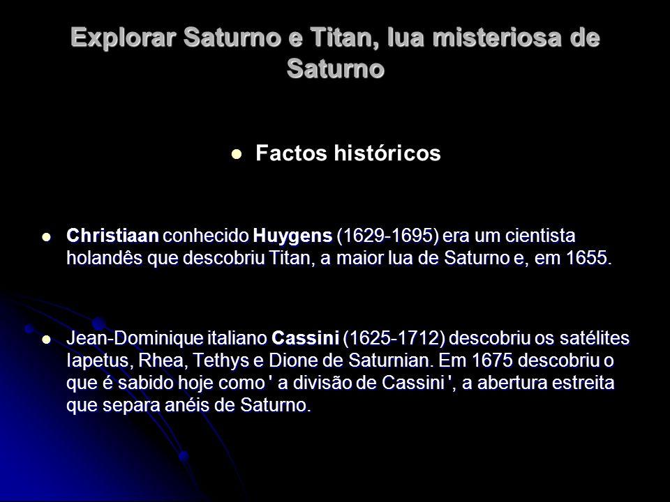 Explorar Saturno e Titan, lua misteriosa de Saturno Factos históricos Christiaan conhecido Huygens (1629-1695) era um cientista holandês que descobriu