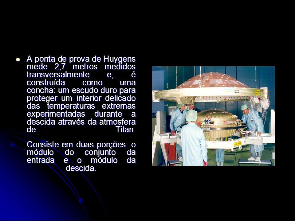A ponta de prova de Huygens mede 2,7 metros medidos transversalmente e, é construída como uma concha: um escudo duro para proteger um interior delicad