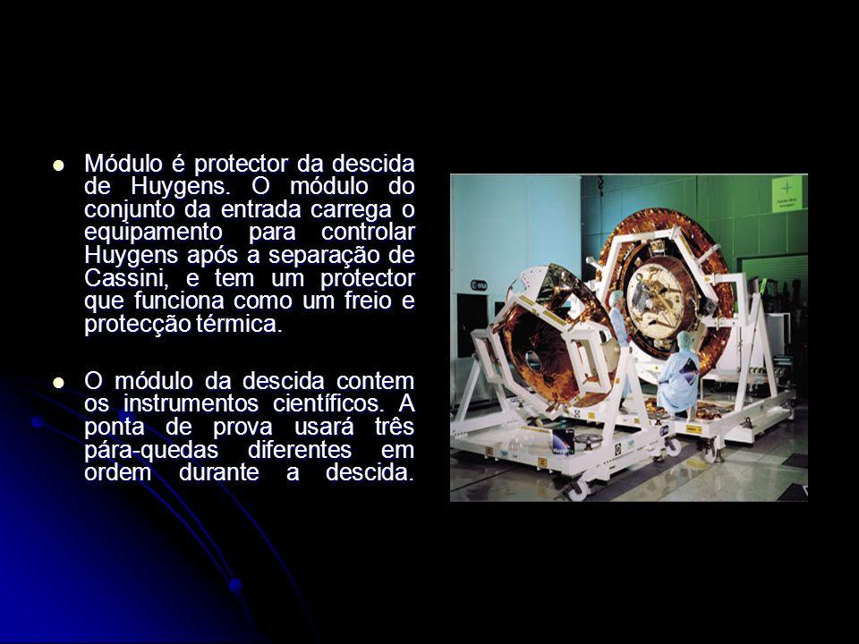 Módulo é protector da descida de Huygens. O módulo do conjunto da entrada carrega o equipamento para controlar Huygens após a separação de Cassini, e
