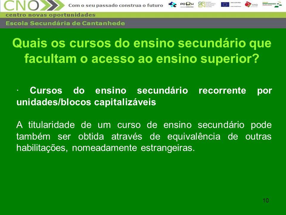 10 · Cursos do ensino secundário recorrente por unidades/blocos capitalizáveis A titularidade de um curso de ensino secundário pode também ser obtida