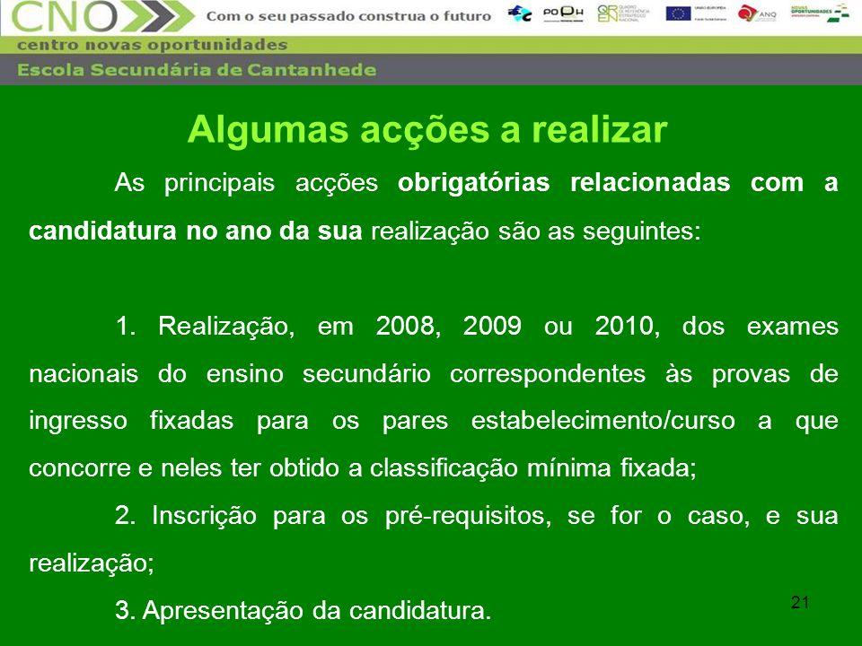 21 As principais acções obrigatórias relacionadas com a candidatura no ano da sua realização são as seguintes: 1. Realização, em 2008, 2009 ou 2010, d
