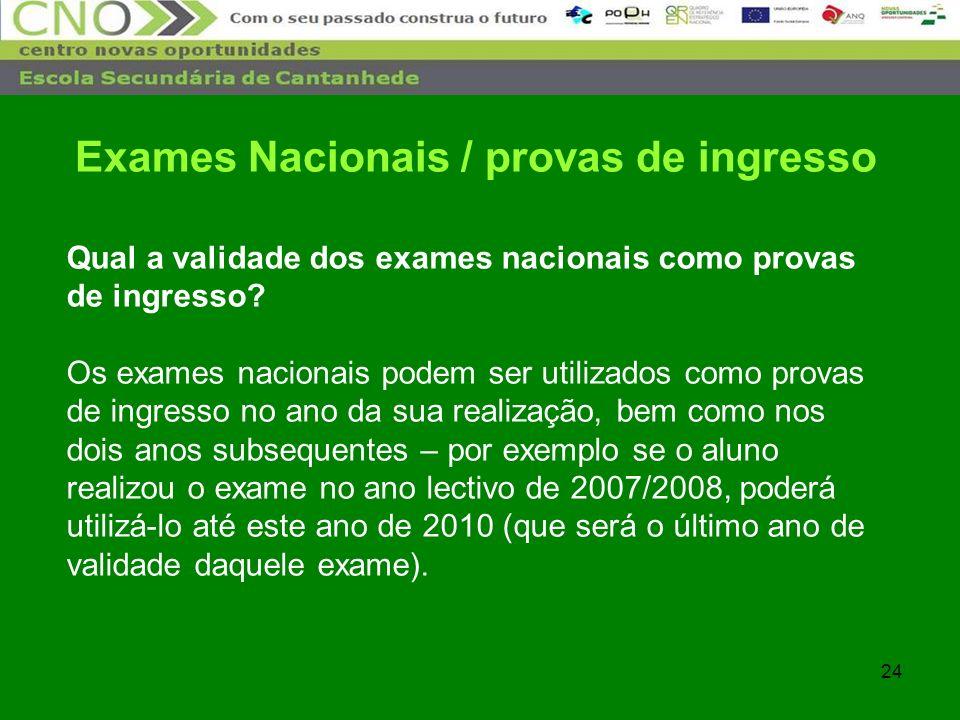 24 Qual a validade dos exames nacionais como provas de ingresso? Os exames nacionais podem ser utilizados como provas de ingresso no ano da sua realiz
