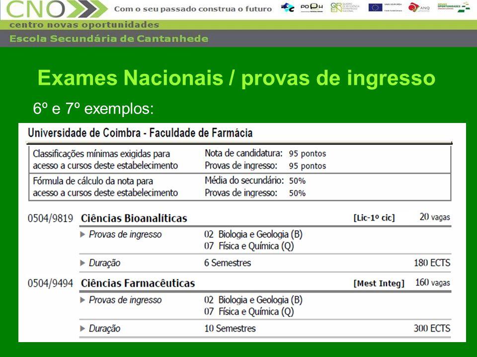 30 6º e 7º exemplos: Exames Nacionais / provas de ingresso