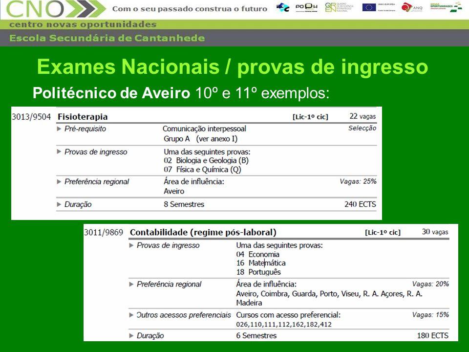 32 Politécnico de Aveiro 10º e 11º exemplos: Exames Nacionais / provas de ingresso