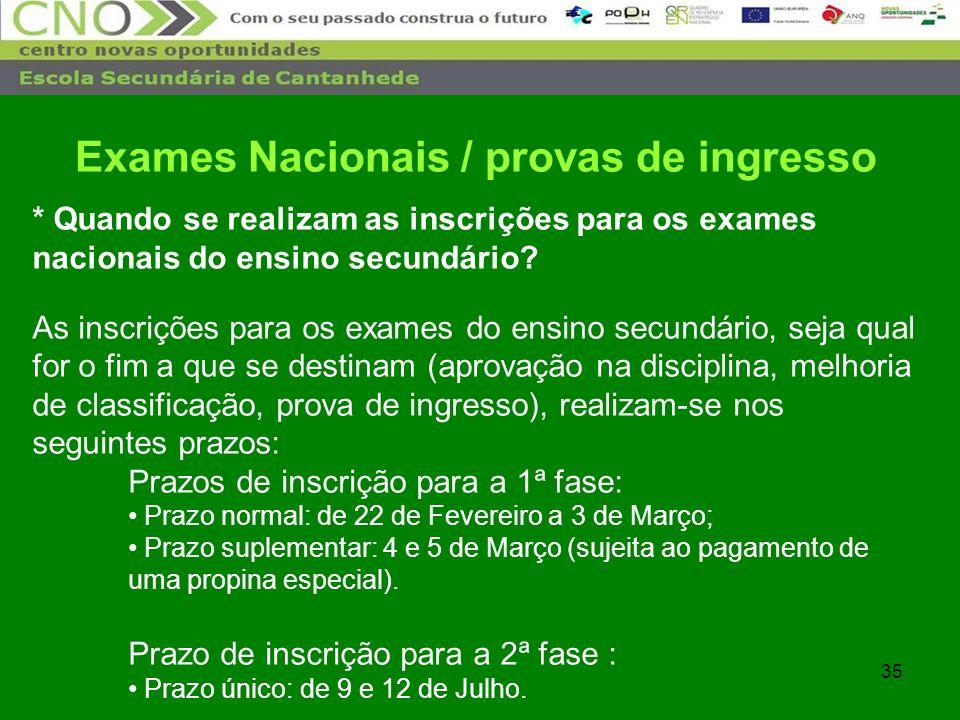 35 * Quando se realizam as inscrições para os exames nacionais do ensino secundário? As inscrições para os exames do ensino secundário, seja qual for