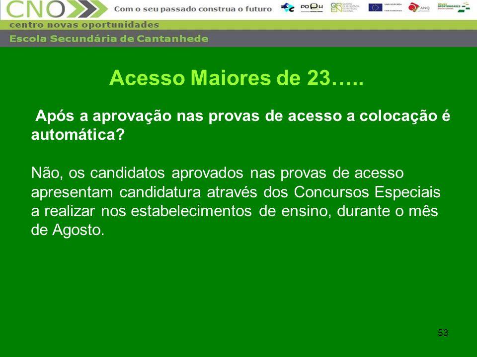 53 Após a aprovação nas provas de acesso a colocação é automática? Não, os candidatos aprovados nas provas de acesso apresentam candidatura através do