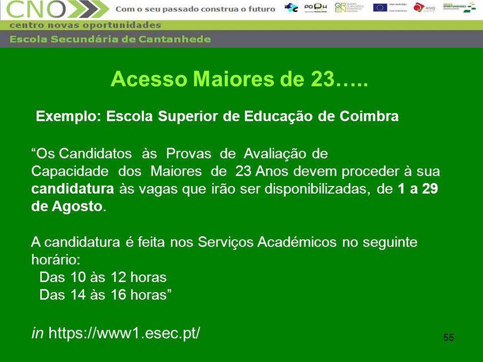 55 Exemplo: Escola Superior de Educação de Coimbra Os Candidatos às Provas de Avaliação de Capacidade dos Maiores de 23 Anos devem proceder à sua cand